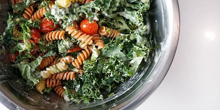 ingredients for shrimp pasta salad in bowl