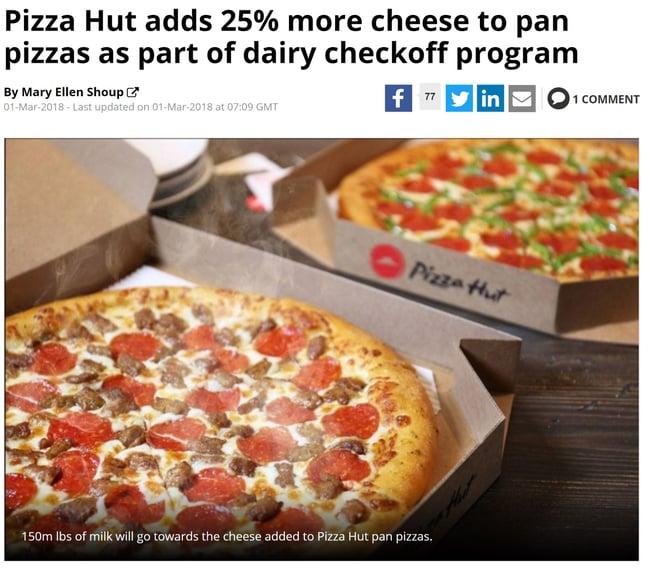 pizza hut checkoff program adds more cheese