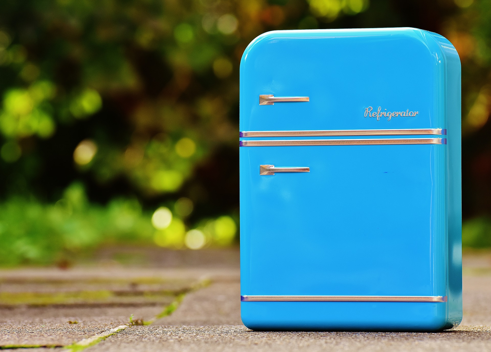 Mini blue refrigerator