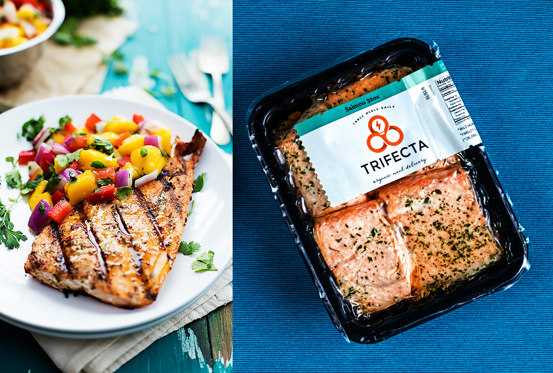 Package of Trifecta ready to eat salmon next to a plate of grilled salmon and mango salsa
