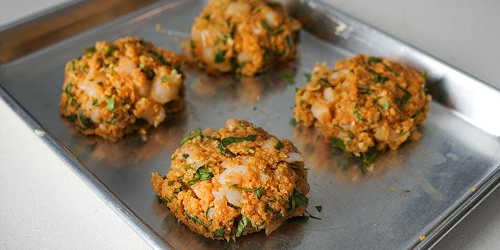 shrimp burger patties on sheet tray
