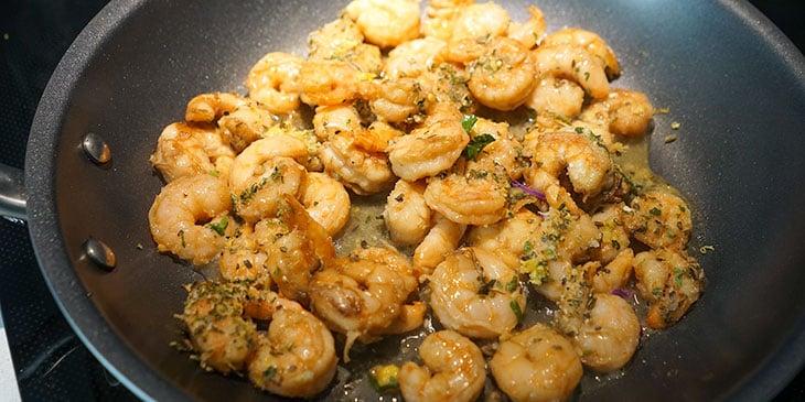 sauting shrimp for high protein pasta salad recipe