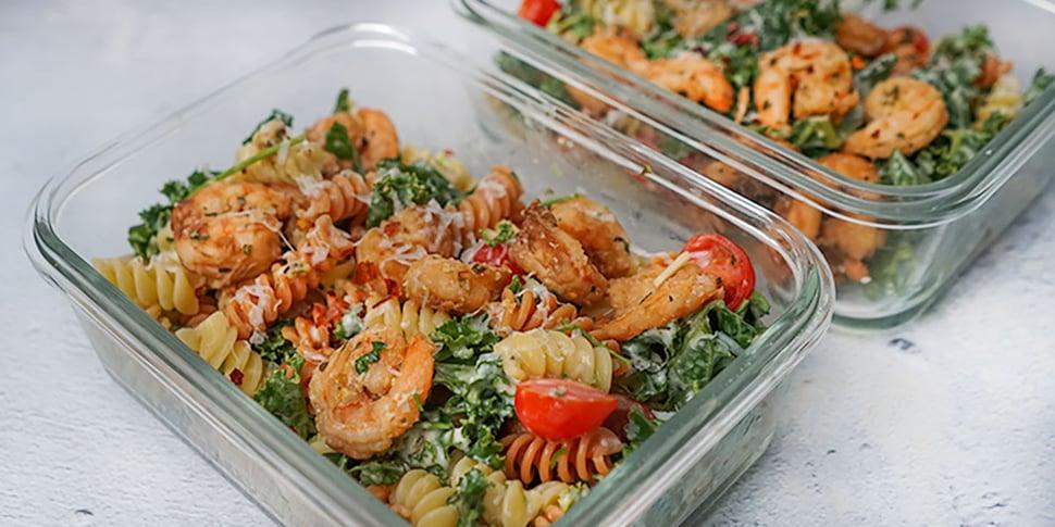 shrimp pasta salad in meal prep container