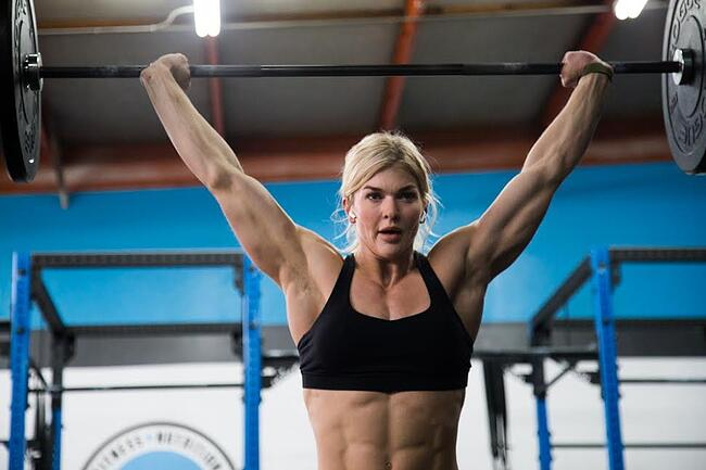 Crossfit athlete Brooke Ence lifting heavy weights