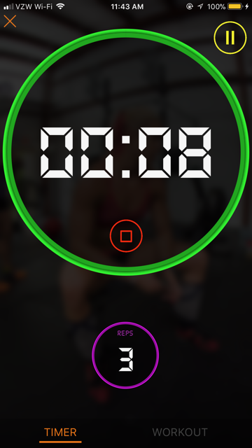 Trifecta App Timer and Reps Log