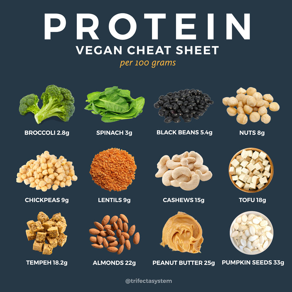 vegan protein cheat sheet