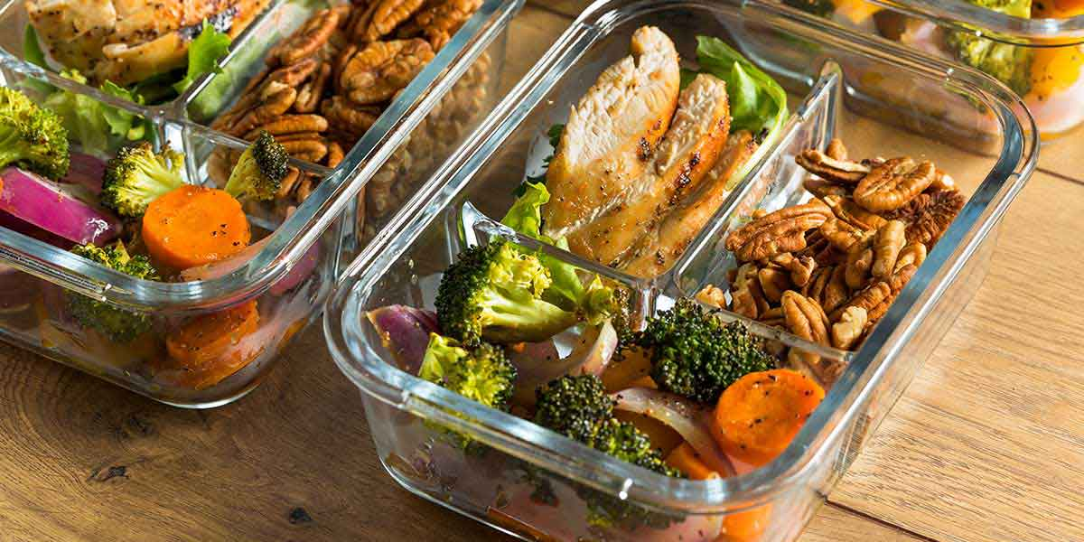 14-day paleo diet meal plan for beginners and meal prep containers with portioned food