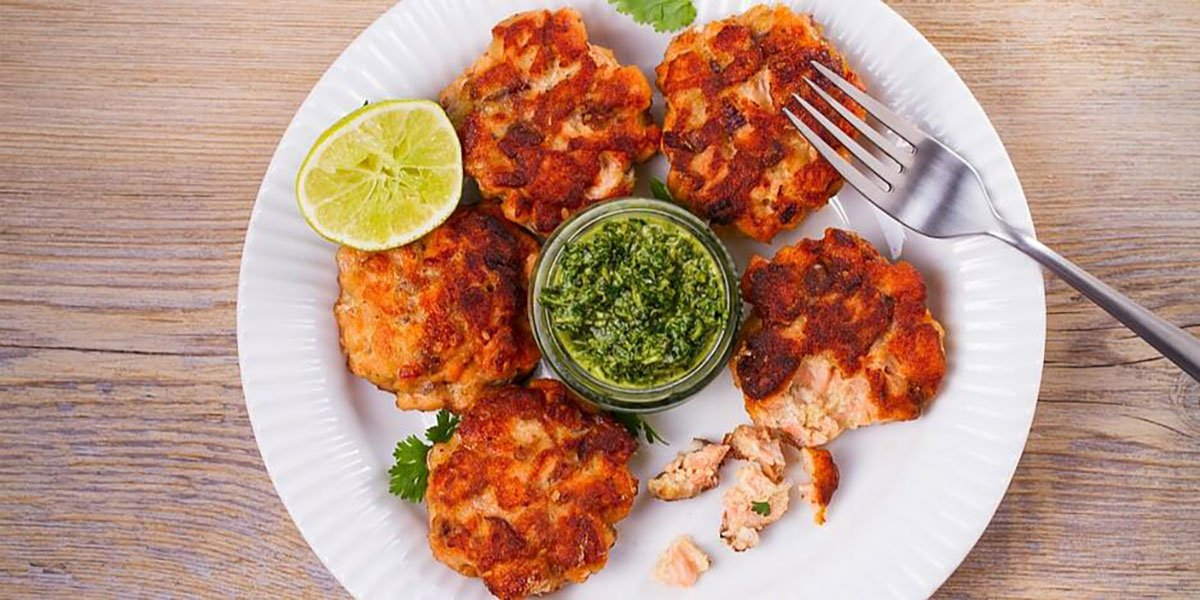 Low Carb Keto Salmon Patties Recipe with Chimichurri Sauce