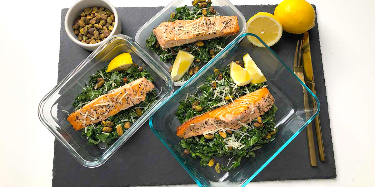 Keto Salmon on Lemon-Parm Kale Salad Recipe