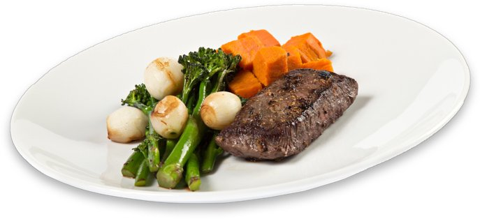Classic Meal Delivery Grass-Fed Steak with Sweet Potatoes and Broccoli