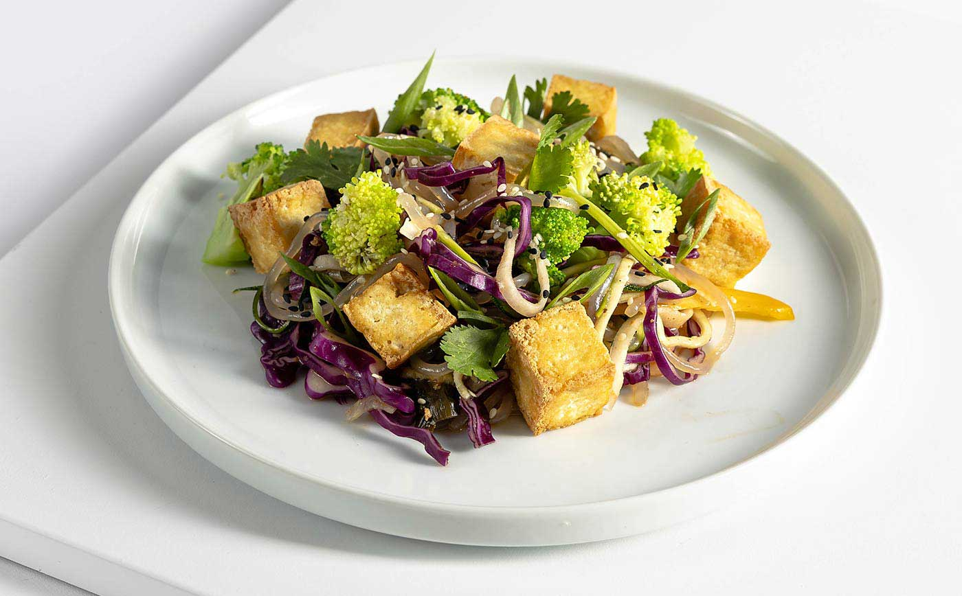 Vegan Meal Crispy Tofu with Organic Mixed Greens