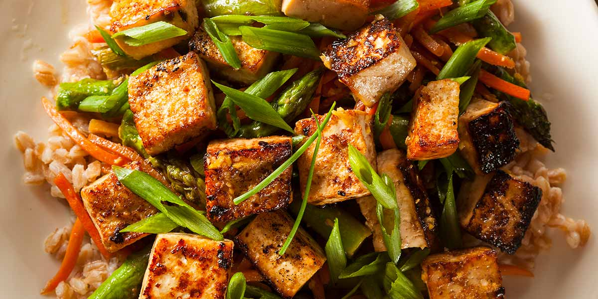meat alternatives tofu stir fry with green onions