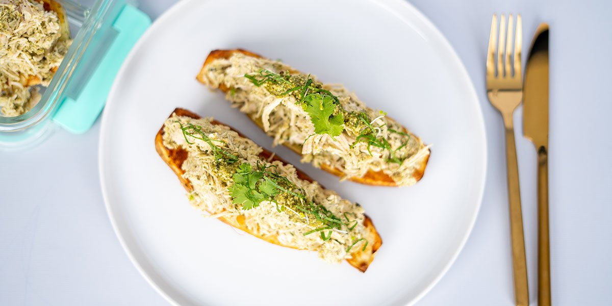 Paleo Chicken Pesto Stuffed Sweet Potato Recipe