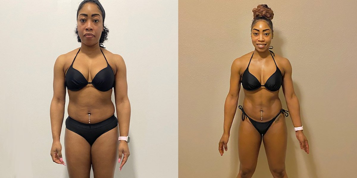 Shenai's 45 day Transformation With Trifecta Vegan and the F45 Challenge before and after comparison