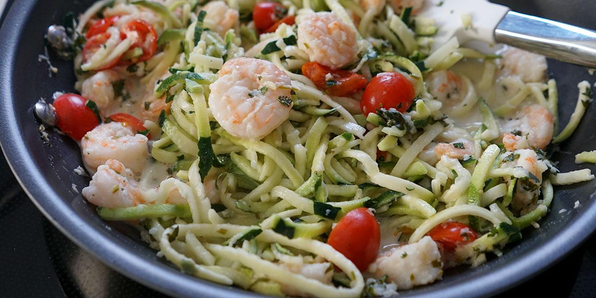 Garlic Shrimp Zucchini Noodle Recipe on a saute pan