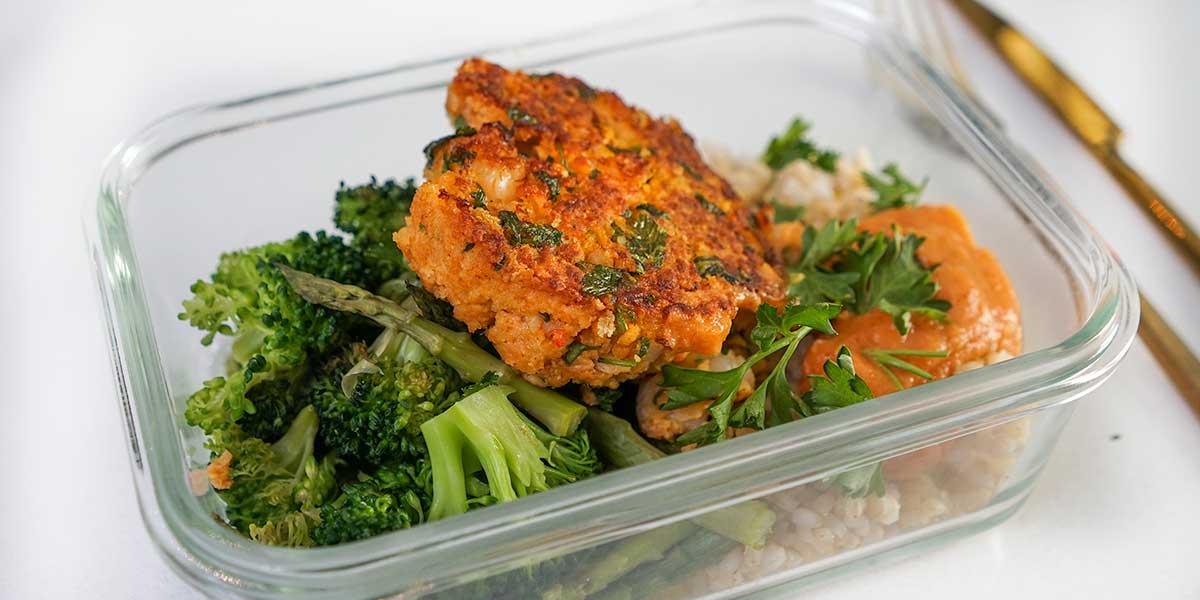 Crispy Shrimp Burger Recipe in meal prep container