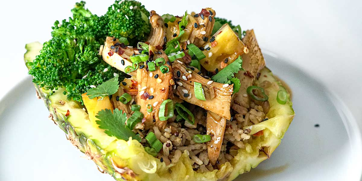 Teriyaki Chicken Pineapple Bowl Recipe placed on a white background
