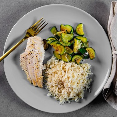 Basa, Brown Rice, Mixed Vegetables Meal