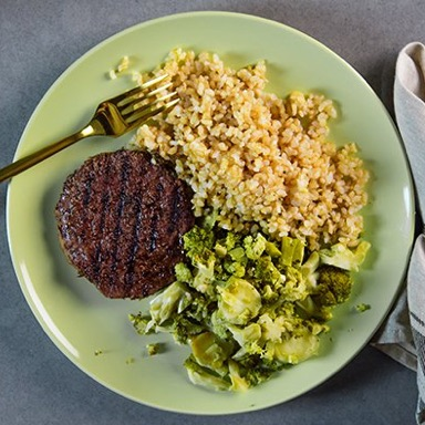 Beef Patty, Brown Rice, Mixed Vegetables Meal