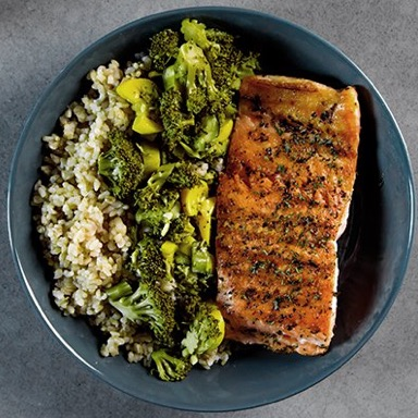 Salmon, Brown Rice, Mixed Vegetables Meal