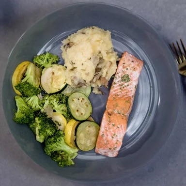 Salmon, Sweet Potato, Mixed Vegetables Meal