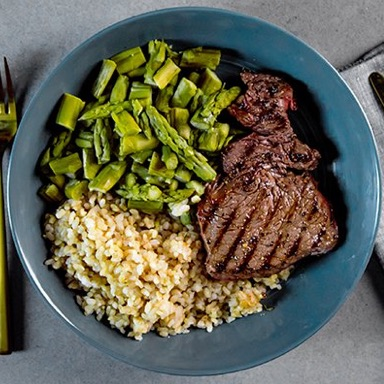Flat Iron Steak, Brown Rice, Mixed Vegetables Meal