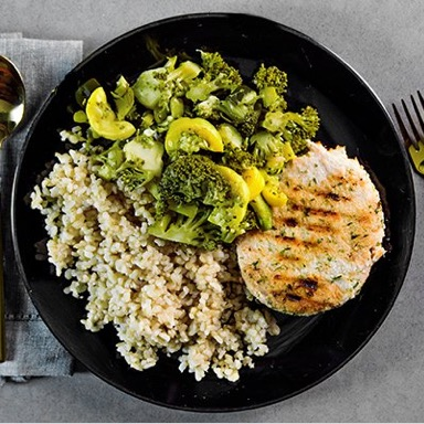 Turkey Patty, Brown Rice, Mixed Vegetables Meal