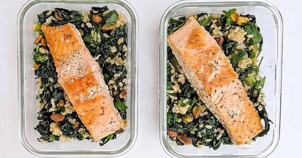 easy meal prep recipes salmon kale grain bowl