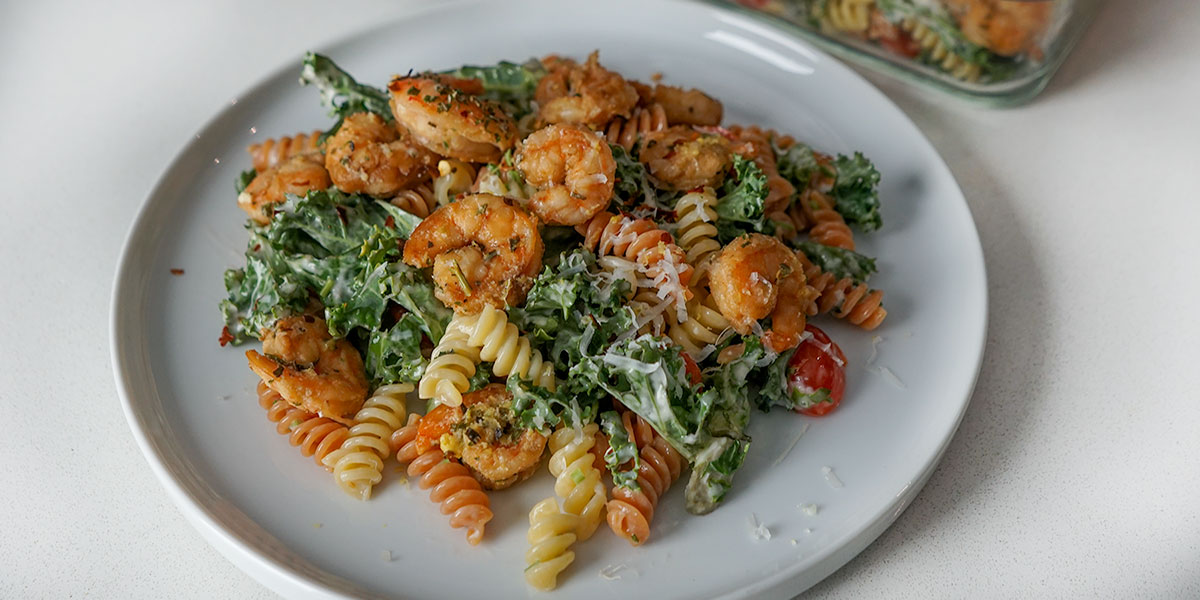 high protein pasta salad recipe on plate