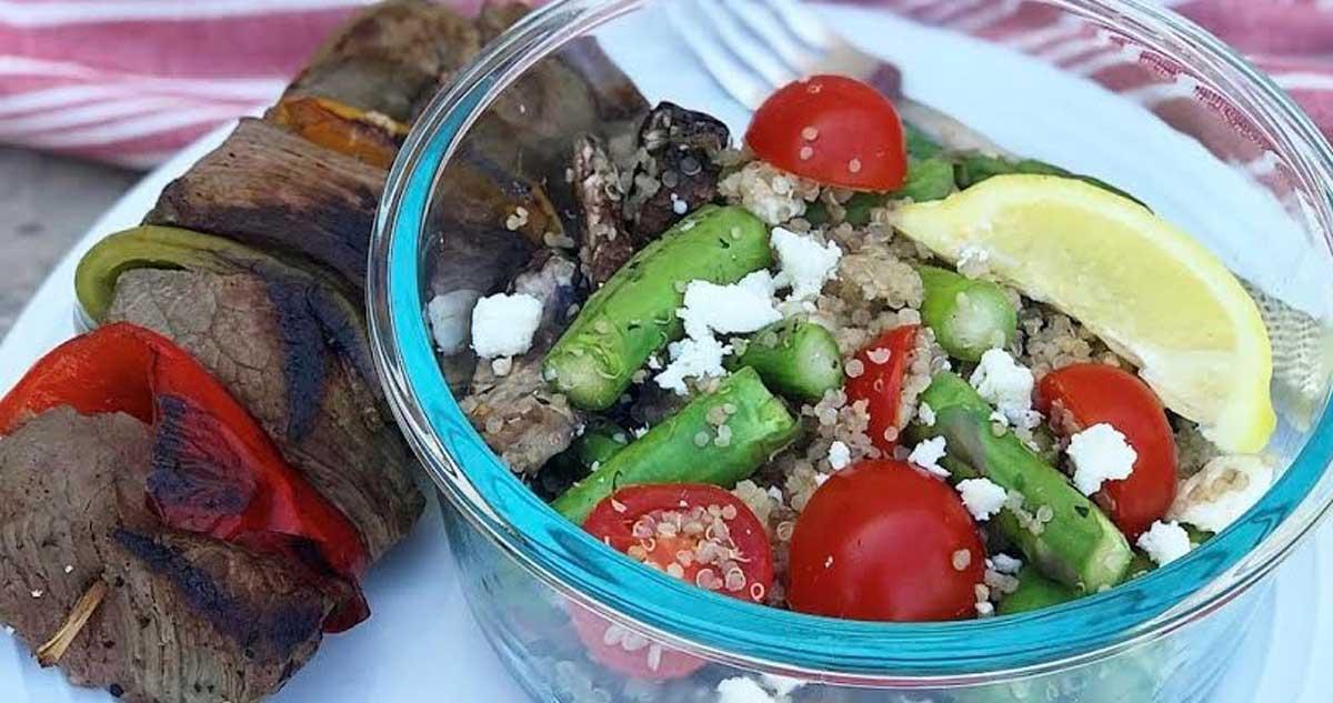 Steak Kabobs & Mediterranean Quinoa Salad