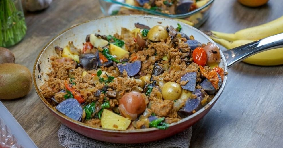 Vegan Veggie and Beef Breakfast Skillet